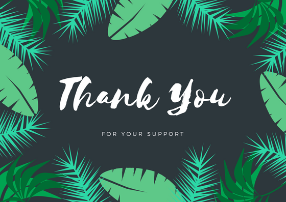 Green Tropical Forest Thank You Postcard